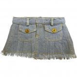 "Blue Frayed Denim 16"" Skirt"