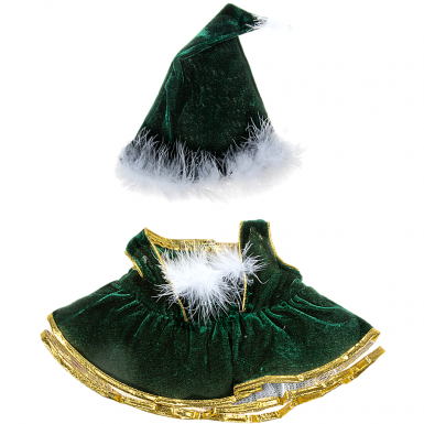 "Velvet Christmas Gown and Cap 16"" Outfit"