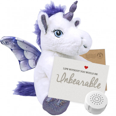 "Crystal Unicorn 8"" Message Bear"
