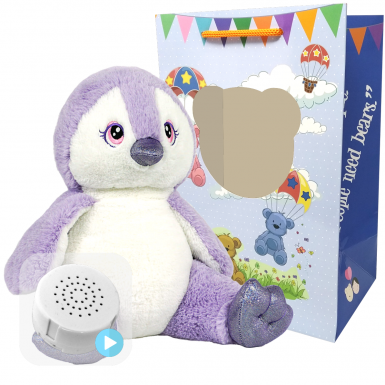 "Purple Penguin 16"" Baby Heartbeat Bear"