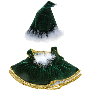 """Velvet Christmas Gown and Cap 16"""" Outfit"""