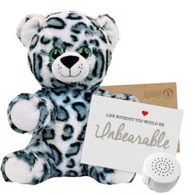 """Eira Snow Leopard 8"""" Message Bear"""