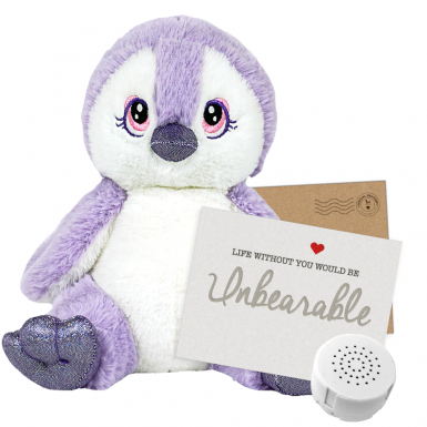 """Purple Penguin 8"""" Message Bear"""