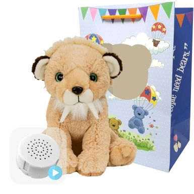 """Sammy The Saber-Tooth Tiger 16"""" Baby Heartbeat Bear"""