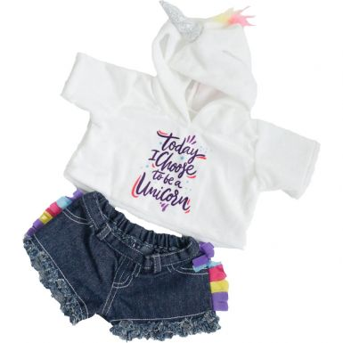 "Unicorn Hoodie & Shorts 16"" Outfit"