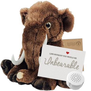 """Wollie The Woolly Mammoth 16"""" Message Bear"""