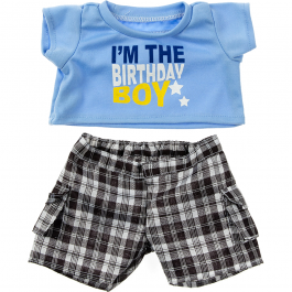 """Birthday Boy T-Shirt with Black Plaid Shorts 16"""" Outfit"""