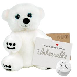 """Snowy Polar Bear 8"""" Message Bear"""