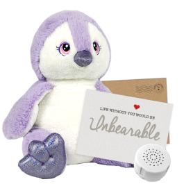 """Purple Penguin 16"""" Message Bear"""