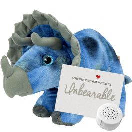 """Tricky The Triceratops 16"""" Message Bear"""