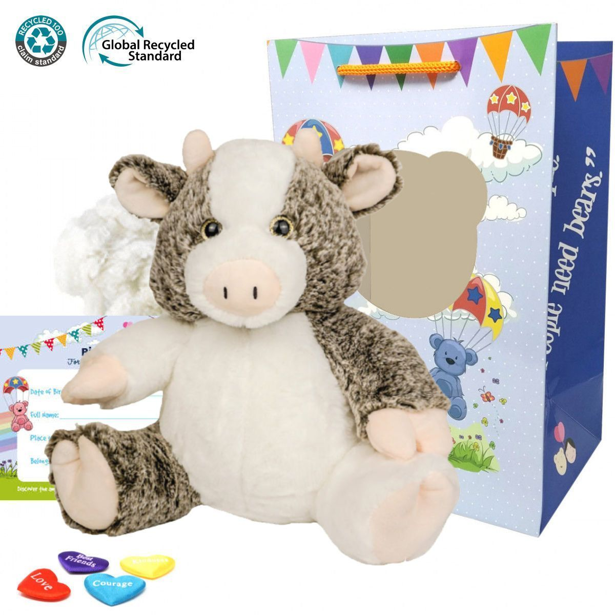 """Clementine The Cow 16"""" Eco Animal Kit"""