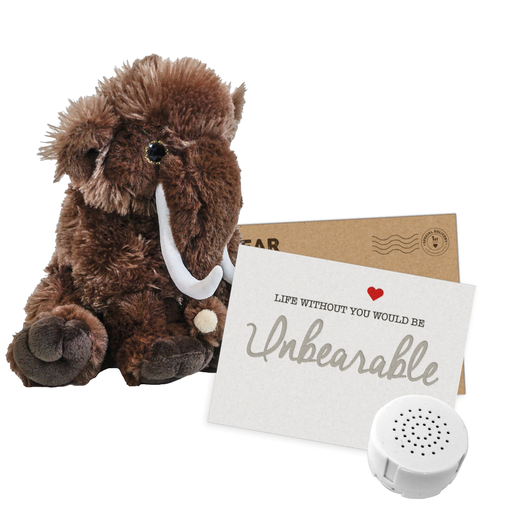 """Wilma The Woolly Mammoth 8"""" Message Bear"""