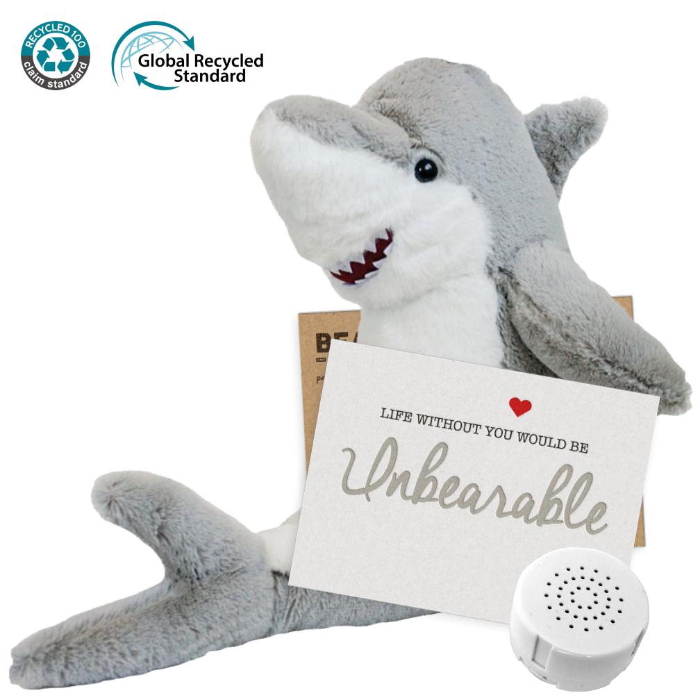 "Great White Shark Eco 16"" Message Bear"